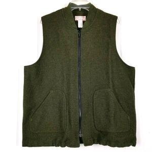 Filson 100% Wool Vest Vintage Zip Front XL Green